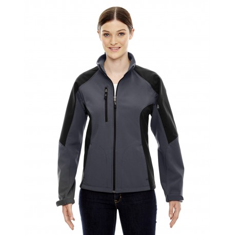 78077 North End 78077 Ladies' Compass Colorblock Three-Layer Fleece Bonded Soft Shell Jacket FOSSIL GREY 887