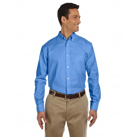 M600 Harriton M600 Men's Long-Sleeve Oxford with Stain-Release FRENCH BLUE