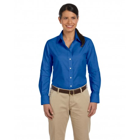 M600W Harriton M600W Ladies' Long-Sleeve Oxford with Stain-Release FRENCH BLUE