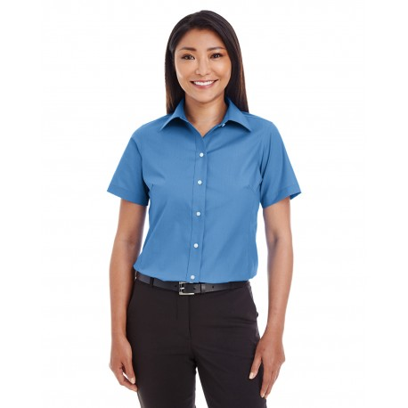 D620SW Devon & Jones D620SW Ladies' Crown Woven Collection Solid Broadcloth Short-Sleeve Shirt FRENCH BLUE