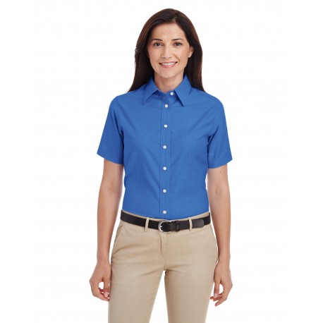 M600SW Harriton M600SW Ladies' Short-Sleeve Oxford with Stain-Release FRENCH BLUE
