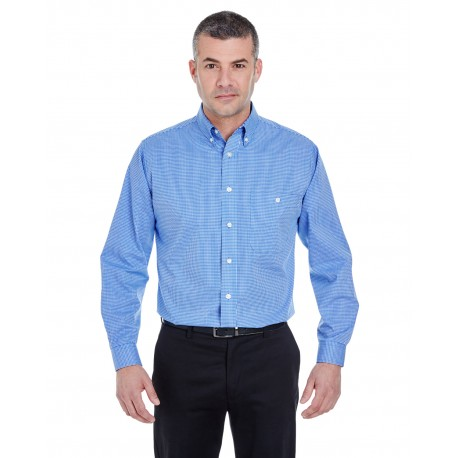 8995 UltraClub 8995 Men's Yarn-Dyed Micro-Check Woven FRENCH BLUE