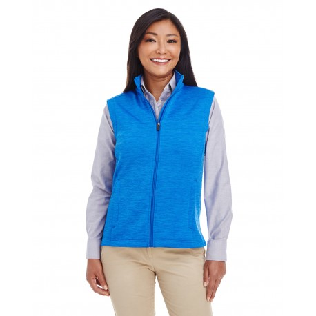 DG797W Devon & Jones DG797W Ladies' Newbury Melange Fleece Vest FRENCH BLUE HTHR