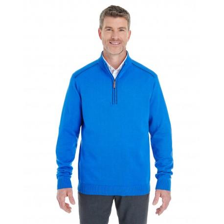 DG478 Devon & Jones DG478 Men's Manchester Fully-Fashioned Quarter-Zip Sweater FRENCH BLUE/NVY