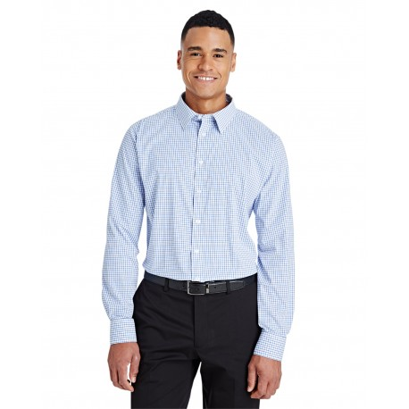 DG540 Devon & Jones DG540 Men's CrownLux Performance Micro Windowpane Shirt FRENCH BLUE/WHT