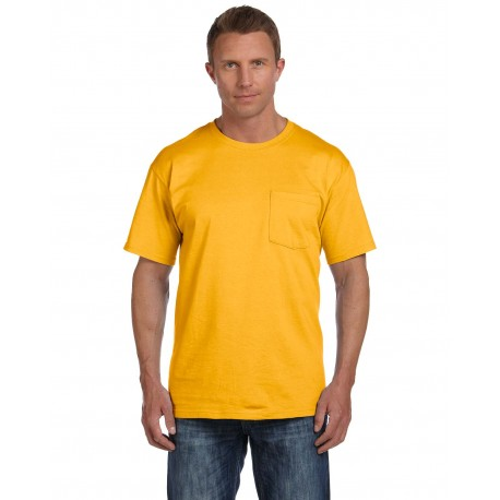 3931P Fruit of the Loom 3931P Adult 5 oz. HD Cotton Pocket T-Shirt GOLD