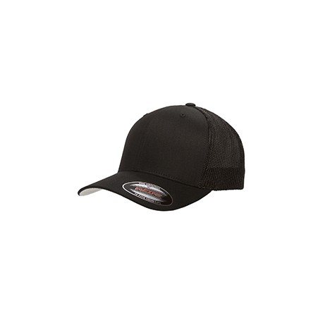 6511 Flexfit 6511 Adult 6-Panel Trucker Cap BLACK
