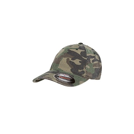 6977CA Flexfit 6977CA Adult Cotton Camouflage Cap GREEN CAMO