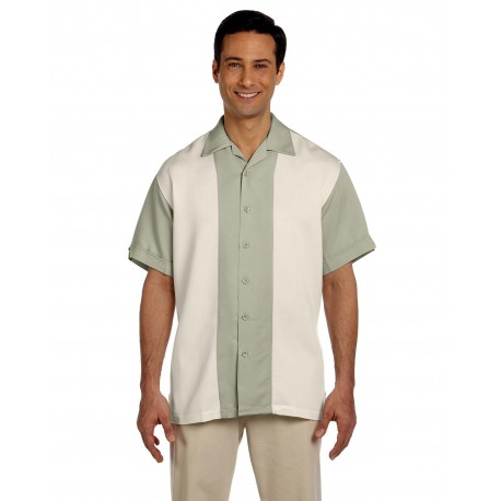 M575 Harriton M575 Men's Two-Tone Bahama Cord Camp Shirt GREEN MIST/CREM