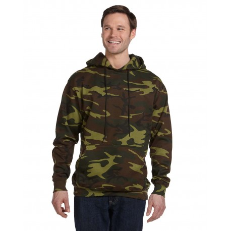 3969 Code Five 3969 Men's Camo Pullover Fleece Hoodie GREEN WOODLAND
