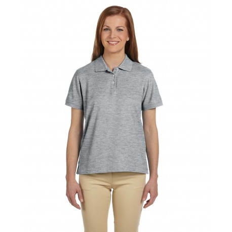 D112W Devon & Jones D112W Ladies' Pima Pique Short-Sleeve Polo GREY HEATHER