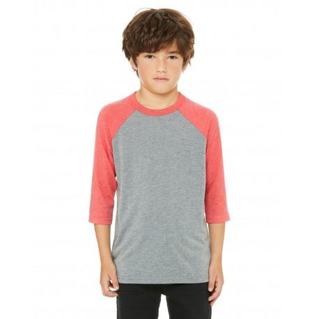 3200Y Bella + Canvas 3200Y Youth 3/4-Sleeve Baseball T-Shirt GREY/RED TRBLND