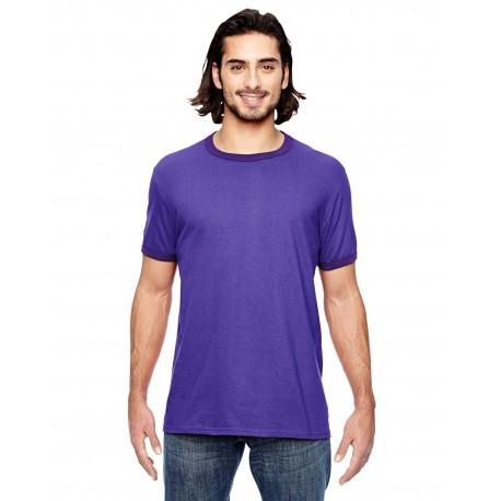 988AN Anvil 988AN Adult Lightweight Ringer T-Shirt H PURPLE/TR PUR