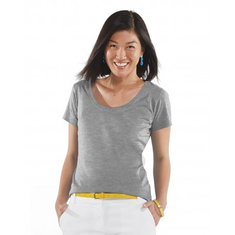 3504 LAT 3504 Ladies' Scoop Neck Fine Jersey T-Shirt HEATHER