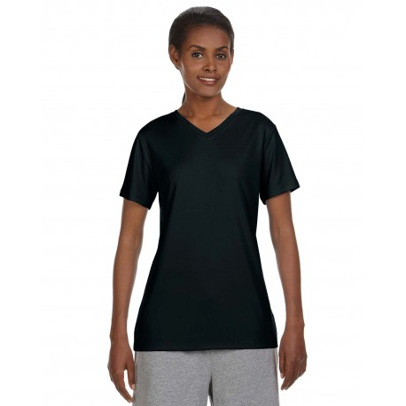 483V Hanes 483V Ladies' Cool DRI with FreshIQ V-Neck Performance T-Shirt BLACK