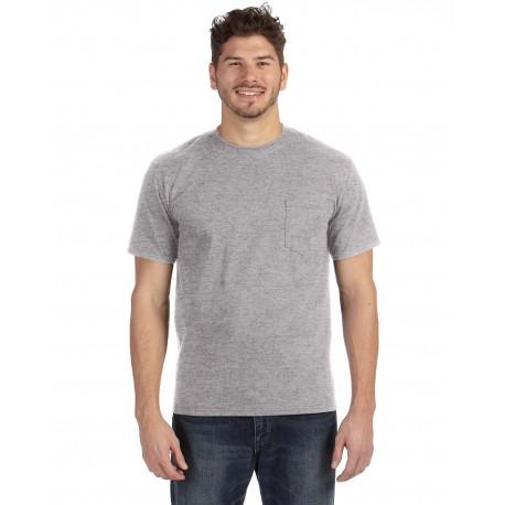 783AN Anvil 783AN Adult Midweight Pocket T-Shirt HEATHER GREY
