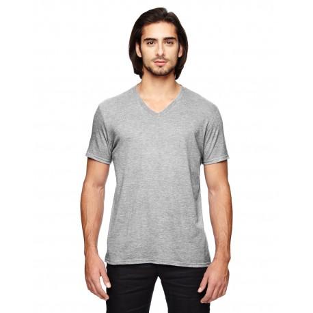6752 Anvil 6752 Adult Triblend V-Neck T-Shirt HEATHER GREY