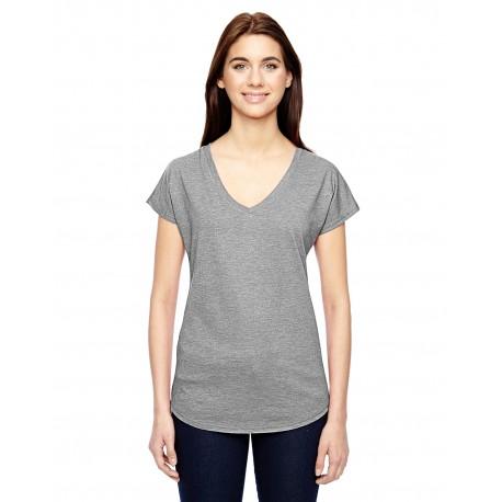 6750VL Anvil 6750VL Ladies' Triblend V-Neck T-Shirt HEATHER GREY