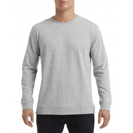 73000 Anvil 73000 Unisex Light Terry Crew HEATHER GREY