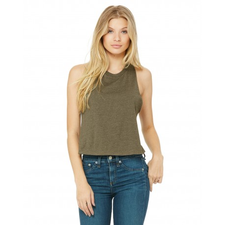 6682 Bella + Canvas 6682 Ladies' Racerback Cropped Tank HEATHER OLIVE