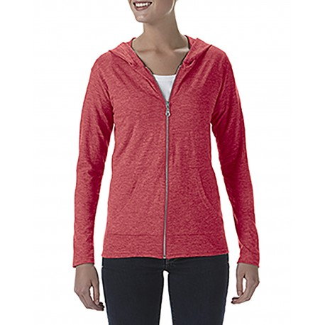 6759L Anvil 6759L Ladies' Triblend Full-Zip Jacket HEATHER RED