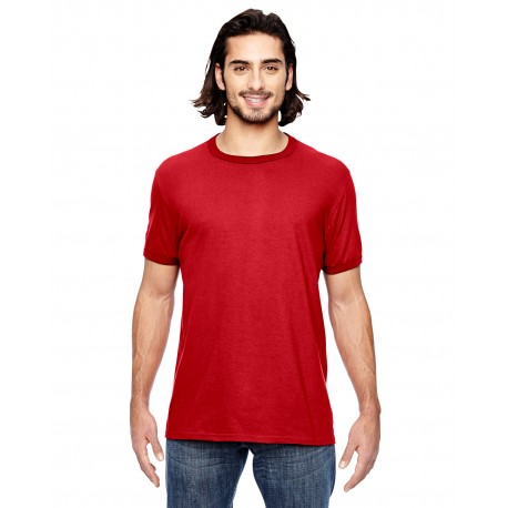 988AN Anvil 988AN Adult Lightweight Ringer T-Shirt HEATHER RED/RED