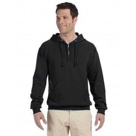 994MR Jerzees 994MR Adult 8 oz. NuBlend Fleece Quarter-Zip Pullover Hood BLACK