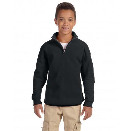 995Y Jerzees 995Y Youth 8 oz. NuBlend Quarter-Zip Cadet Collar Sweatshirt BLACK