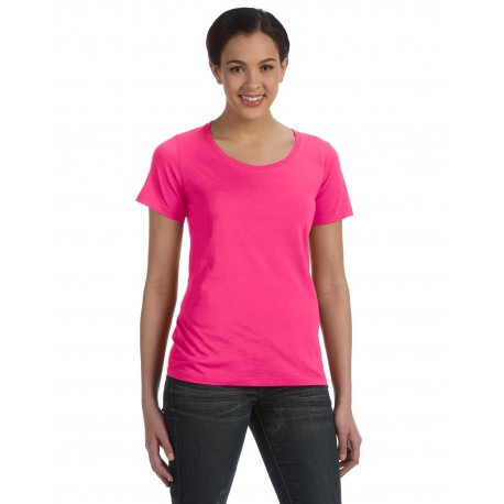 391A Anvil 391A Ladies' Featherweight Scoop T-Shirt HOT PINK