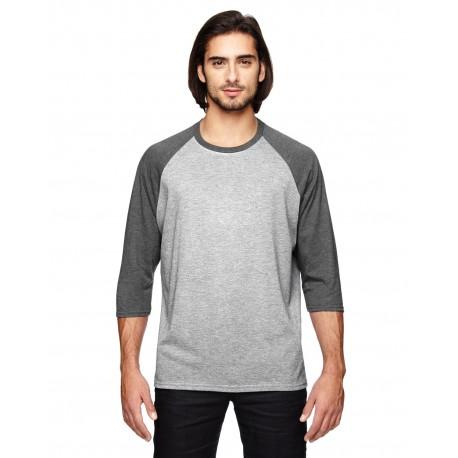 6755 Anvil 6755 Adult Triblend 3/4-Sleeve Raglan T-Shirt HT GY/HT DK GRN