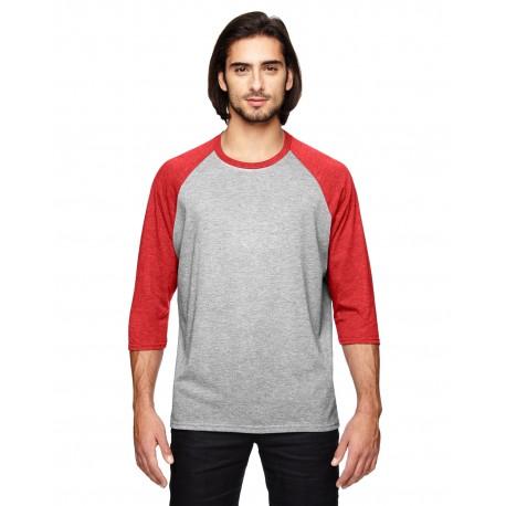 6755 Anvil 6755 Adult Triblend 3/4-Sleeve Raglan T-Shirt HTH GR/TR H RED