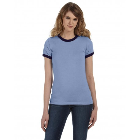 B6050 Bella + Canvas B6050 Ladies' Jersey Short-Sleeve Ringer T-Shirt HTHR BLUE/NAVY