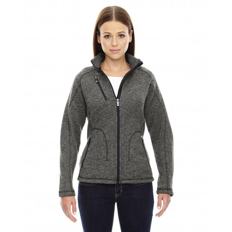 78669 North End 78669 Ladies' Peak Sweater Fleece Jacket HTHR CHRCL 745