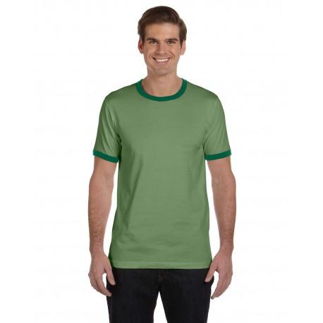 3055C Bella + Canvas 3055C Men's Jersey Short-Sleeve Ringer T-Shirt HTHR GREEN/FOR