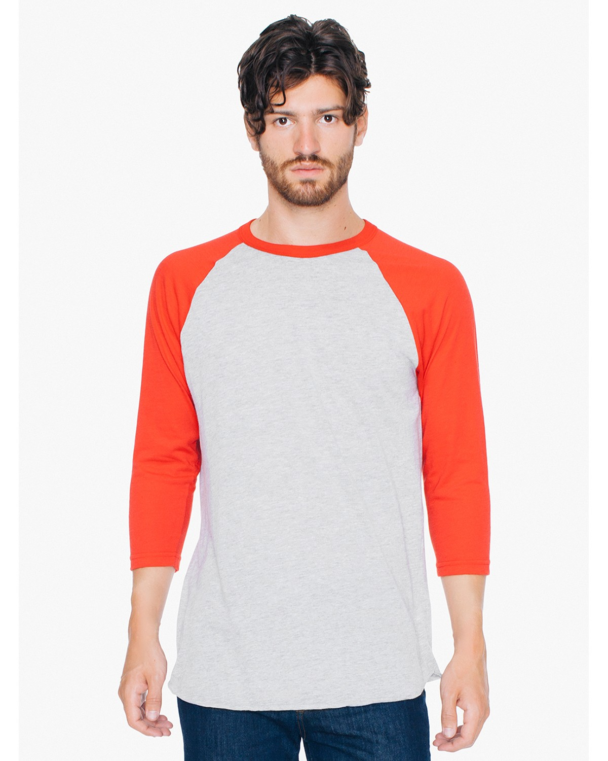 BB453W American Apparel HTHR GREY/RED