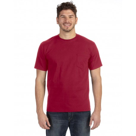 783AN Anvil 783AN Adult Midweight Pocket T-Shirt INDEPENDENCE RED