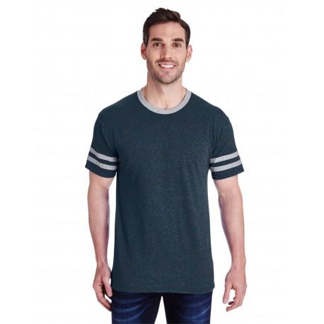 602MR Jerzees 602MR Adult 4.5 oz. TRI-BLEND Varsity Ringer T-Shirt INDIGO HTH/OXFR