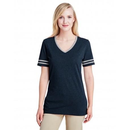 602WVR Jerzees 602WVR Ladies' 4.5 oz. TRI-BLEND Varsity V-Neck T-Shirt INDIGO HTH/OXFR