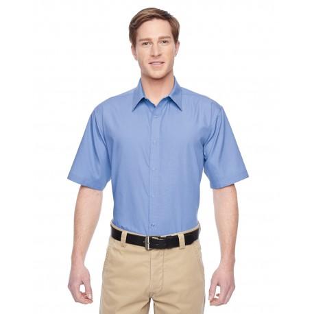 M545 Harriton M545 Men's Advantage Snap Closure Short-Sleeve Shirt INDUSTRY BLUE