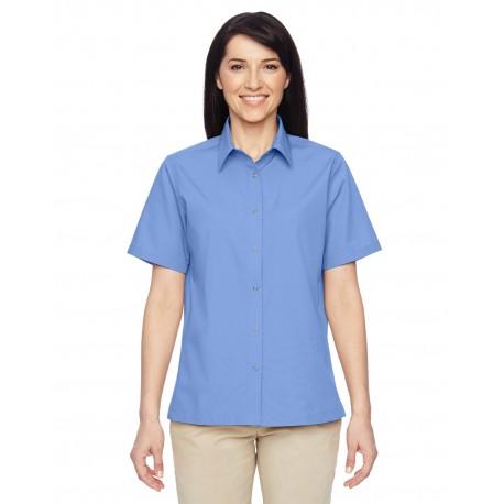M545W Harriton M545W Ladies' Advantage Snap Closure Short-Sleeve Shirt INDUSTRY BLUE