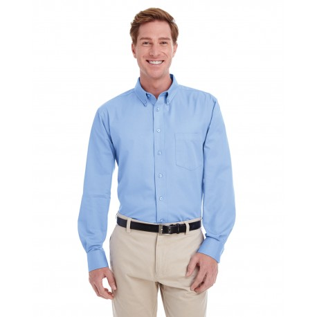 M581 Harriton M581 Men's Foundation 100% Cotton Long-Sleeve Twill Shirt with Teflon INDUSTRY BLUE