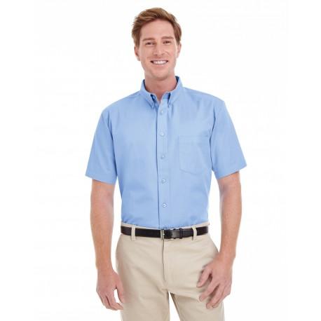 M582 Harriton M582 Men's Foundation 100% Cotton Short-Sleeve Twill Shirt with Teflon INDUSTRY BLUE