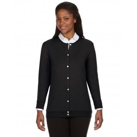 DP181W Devon & Jones DP181W Ladies' Perfect Fit Ribbon Cardigan BLACK