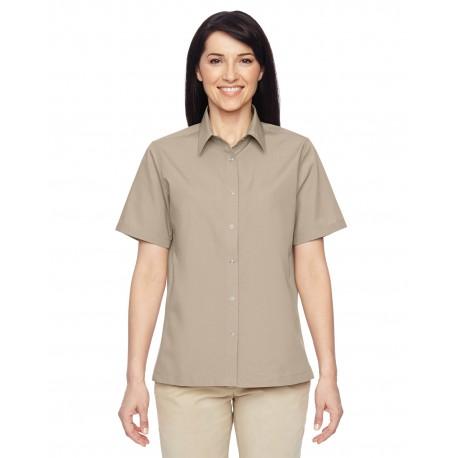 M545W Harriton M545W Ladies' Advantage Snap Closure Short-Sleeve Shirt KHAKI