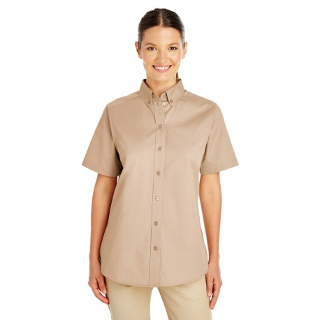 M582W Harriton M582W Ladies' Foundation 100% Cotton Short-Sleeve Twill Shirt with Teflon KHAKI