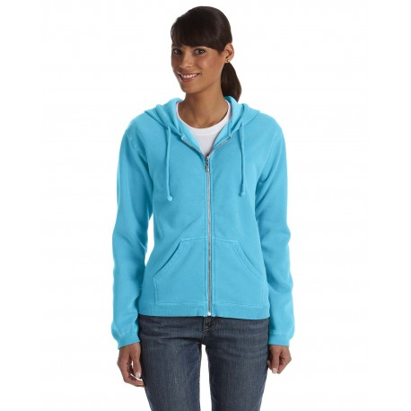 C1598 Comfort Colors C1598 Ladies' Full-Zip Hooded Sweatshirt LAGOON BLUE