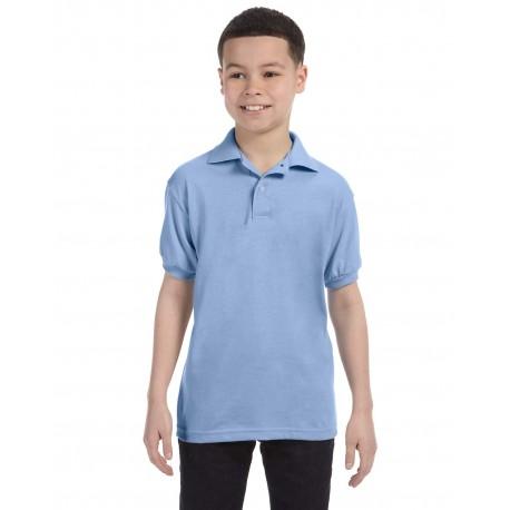 054Y Hanes 054Y Youth 5.2 oz., 50/50 EcoSmart Jersey Knit Polo LIGHT BLUE