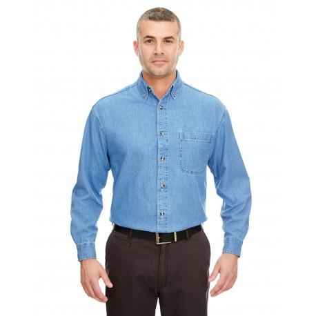 8960 UltraClub 8960 Men's Cypress Denim with Pocket LIGHT BLUE