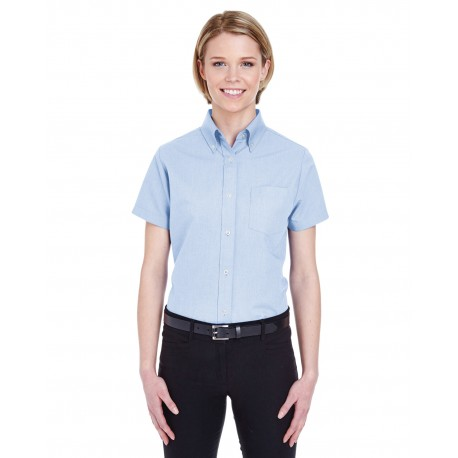8973 UltraClub 8973 Ladies' Classic Wrinkle-Resistant Short-Sleeve Oxford LIGHT BLUE