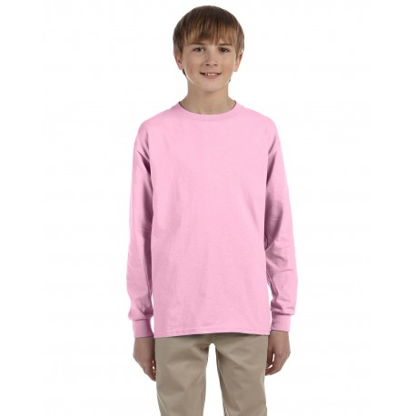 G240B Gildan G240B Youth Ultra Cotton 6 oz. Long-Sleeve T-Shirt LIGHT PINK